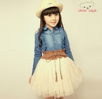 free shipping for 2014 autumn clothing little girl's one-piece dress