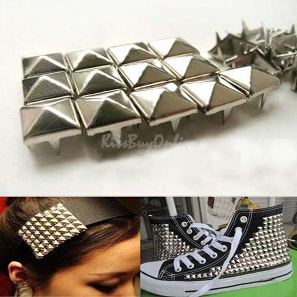 100Pcs Fashion 7mm DIY Spike Square Stud Rivet Punk Bag Belt Craft Silver 99% Area Free Shipping DHL EMS K5BO(China (Mainland))