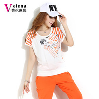 2013 casual set female summer mm plus size fashion short-sleeve sportswear set