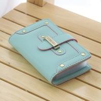 2014 Card Holder Color Block Drawstring Women's Multi Credit Card Holder ID Card Holder Wallets Girls Clip Bank Card Bag Wallets