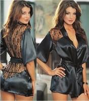 SEXY Lingerie Soft Sleepwear BATH ROBE Back RoseLace Kimono G-string panty Dress