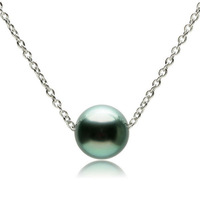 Natural Round Tahitian black pearl with sterling silver chain necklace,Large tahiti pearl pendant necklace wholesale or retail