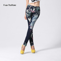 Женские джинсы Lady Pencil Jeans Brand Designer Classical Light Blue With Printed Patterns