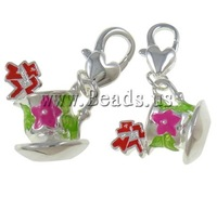Free shipping!!!Zinc Alloy Lobster Clasp Charm,Christmas Gift, Cup, platinum color plated, nickel, lead & cadmium free