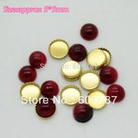 Free Shipping-Red 5*5mm 200pcs/lot(100pcs Turquoise Jelly Stone+100pcs metal base) Nail Jewelry Flat Rhinestones Decorations