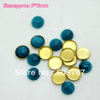 Free Shipping-Blue 5*5mm 200pcs/lot(100pcs Turquoise Jelly Stone+100pcs metal base) Nail Jewelry Flat Rhinestones Decorations