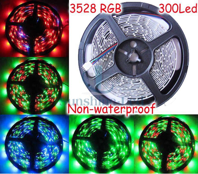Free Shipping!5M/Lot 3528 SMD 300 Leds 60Led/m Non-Waterproof RGB Flexible LED Strip light(China (Mainland))