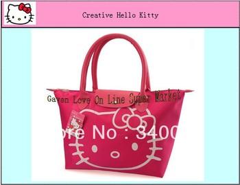 New Hello Kitty Folding Bag  Woman Shopping Bag Waterproof  PU Hand Bag Red Color (1 piece) Free Shipping