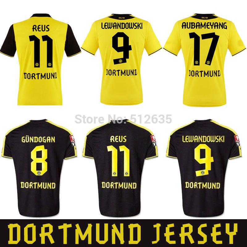 Free shipping 2014 Best thailand quality Germany FC Borussia Dortmund Home 9# Lewandowski Gotze Soccer jersey(China (Mainland))