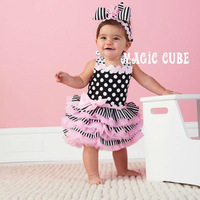 Wholesale 3 PCS/lot baby girls cake dress dots striped sleeveless princess dress summer clothing free shipping