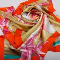 2014 Autumn-summer Luxury 100% Silk Scarf Designer Big Size Silk Scarves For Women Pure Silk Brand Shawl Scarfs 90x90cm SF0157