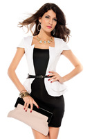 2013  Hot plus size 4 colors autumn elegant slim one-piece  women dress with free belt wholesale price for free shipping