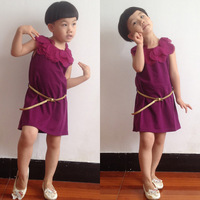 Girls' Fashion Sleeveless Dress Belted 100% Cotton Children  Purple Flower Collar