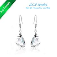 Free shipping Christmas gift fashion 18K GP jewelry tears The new pea princess crystal earrings fashion jewelry woman pure white