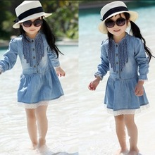 Retail 2013 New Autumn Children's Clothing Girls Casual Princess Dresses Kids Cotton Thin Denim Long-Sleeve Dress Free Shipping(China (Mainland))