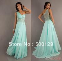 New Fashion Free Shipping Custom Made One Shoulder Sleeveless Beaded Formal Long Prom Dresses 2014