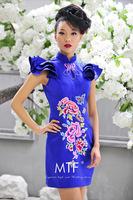Free Shipping Q1378 Improved 2013 New Retro Blue Embroidered Cheongsam Short Wedding Dress+100%Satin