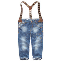Fashion children's overalls 2013 new arrival skull five pointed stars roll up hem jeans suspenders jeans for boy Free shipping