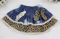 aoth36 leopard design denim girls clothes 2-7 age new 2014 kids skirts baby tutu skirt free shipping 4pcs/ lot