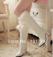 free shipping Autumn winter women's shoes white fur ball rabbit fur high-heeled boots high-leg thick heel long boots brand shoes