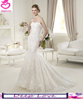 Free Shipping Mermaid Chiffon Sweetheart Sleeveless Grace White / Ivory 2013 New Elie Saab Design Wedding Dresses/Bridal Gown
