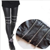 The new winter wild matte leather pants zipper leggings knee three Free shipping