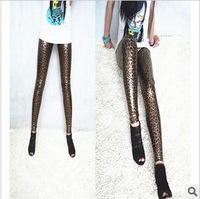 2013 European and American fashion new Gold Leopard Faux Leather Leggings nine feet pants pants Free shipping