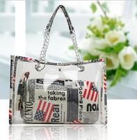 2014 The new women handbag Fashion trends Transparent beach bag leisure shoulder bag Metal chain bag wholesale Free shipping