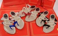 Rc open toe flip-flop pearl rhinestone beach sandals flat heel sandals gentlewomen shoes free shipping