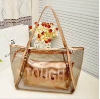 2014 best-selling transparent crystal beach Handbag Women's fashion leisure shopping waterproof bags  wholesale Free shipping