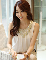 2013 women's summer sleeveless vest short-sleeve chiffon shirt slim summer top female