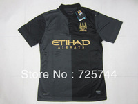 Player version New Man City jersey 2014 Away Manchester City Third Away Black 13 14 soccer uniforms Thailand Quality Can Custom