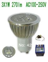 10Pcs/lot Hight Power  GU10 3W 3X1W 300lm  Better heat dissipation Silver Aluminum  Led Spotlight  AC100-250V