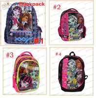 Free Shipping ! 40x30x15cm Cartoon Baby Monster High Doll School Bag Kids Cute Children Student Backpacks Christmas Gift For Kid