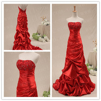 Freeshipping! ER6049 Customized Latest Design Real Sample Puffy Satin Long Red Evening Dress