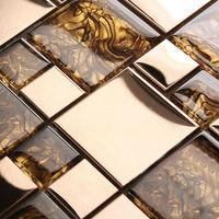 Crystal Glass Tile Pearl Shell Pattern Mosaic Design Art Stainless Steel & Glass Blend Metal Backsplash Tiles Wall Sticker 1941