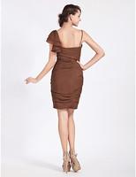 Lost in City Nights! Party Dress Prom Dress Sheath/Column Spaghetti Strap Knee-length Chiffon Bridesmaid Dress