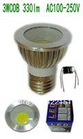 10pcs/lot Free shipping E27 3W COB 330lm Silver Aluminum shell (COB32)  Led Spotlight AC100-250V