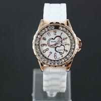 2014 Fashion Women Diamond Double Heart Watch Silicone Ladies Gold Case Watch Quartz Watch