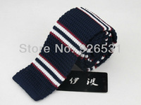 Men's tie/navy/red and white horizontal stripe shape design/style restoring ancient ways knit tie, free shipping