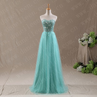 Freeshipping! ER6017 Modest Real Sample Princess Bandage Beaded Tulle Long Formal Dress