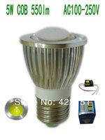 10pcs/lot Convex lens E27 5W COB 550lm Silver Aluminum shell (COB51)  Led Spotlight AC100-250V