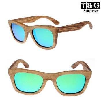 Zebra Stripe Wooden Sunlasses Flat Top Wayfer Medium Men/Women Glasses Ice Blue Revo ...