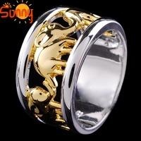 Sz7/8/9/10Jewellery  elephant gentlemen's/ lady's 14KT white Gold Filled Ring