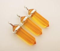 12PCS/Lot Stone Chakra Manmade Citrine Point Pendants Pendulum - Healing Crystal Pendulum , 17 Stone Choice