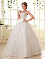 2014 Hot sale Free shipping Hy petals handmade paillette wedding dress tube top bandage sweet princess wedding dress