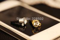 wholesale 50pcs rhinestone cell phone jewelry pendant diy dust plug for diy plug iphone sumsang dust plug free shipping