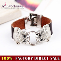 Wholesale Free shipping!Fashion Vintage Leopard head Bracelets jewelry,Unique Style Leather Full crystal Leopard Bracelet Bangle