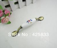 10pcs Ceramic Bronze Furniture Knobs Kitchen Handles Orchid with Flower Drawer Pulls Cabinet Pulls Door Furniture Hardware