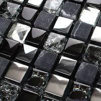 "Crackle glass tile backsplash Stainless steel and stone blend 3/5"" marble crystal mosaic diamonds KS66B Metal kitchen wall tiles"